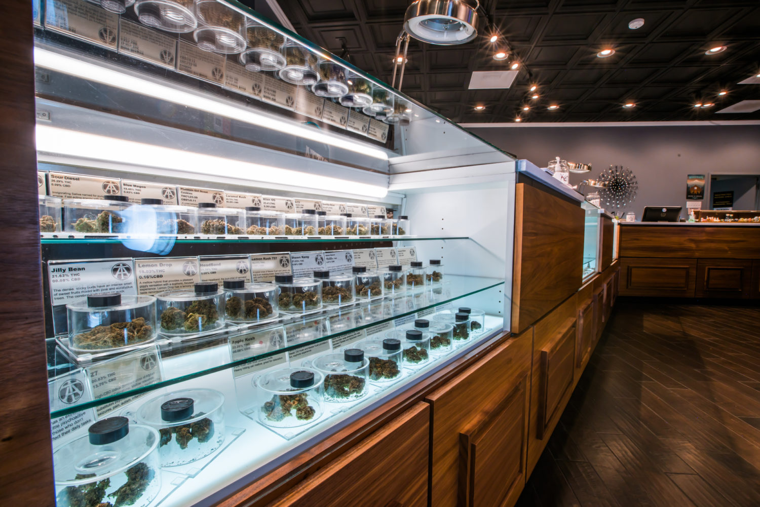 A wide variety of cannabis strains on display at Attis Trading SW Barbur dispensary